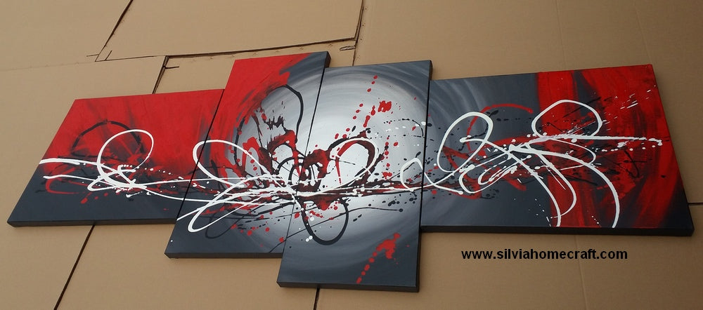 Painting Samples of Abstract Art, Black and Red Wall Art, Buy Art Online