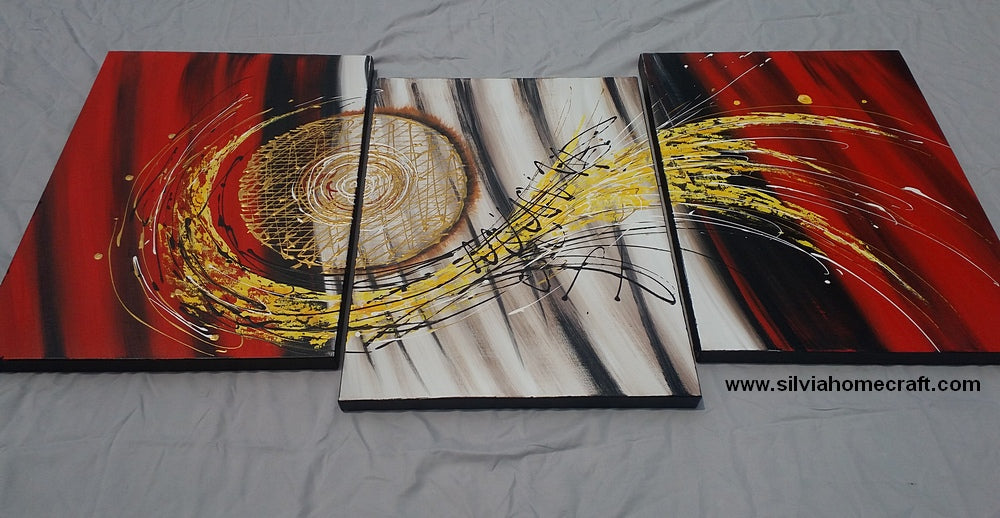 Painting Samples of 3 Panel Red Abstract Painting