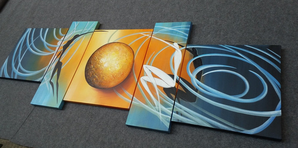Abstract Art of Love, Love Abstract Painting, Living Room Wall Art, 5 Piece Canvas Art