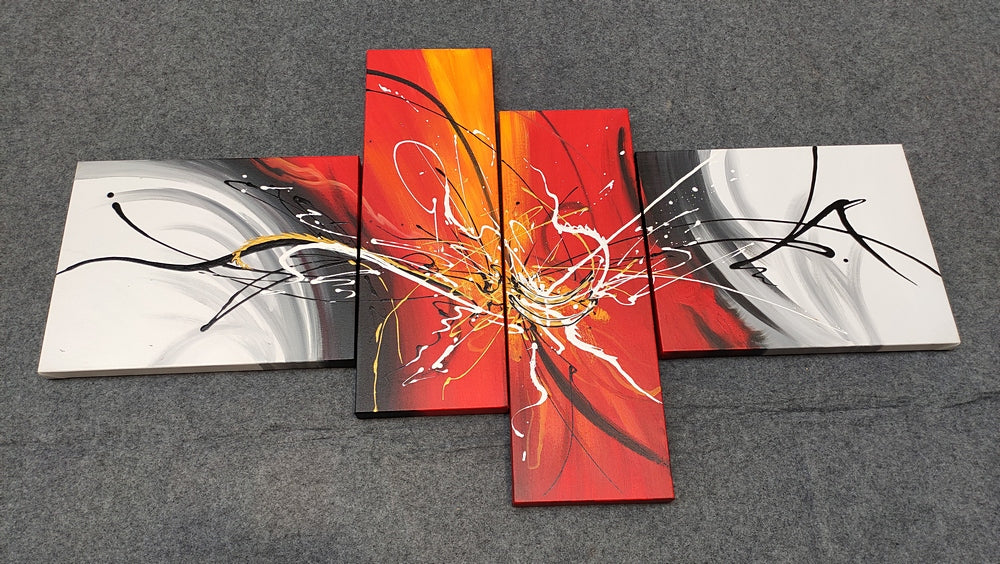 4 Piece Painting, Modern Paintings for Living Room, Acrylic Paintings for Bedroom