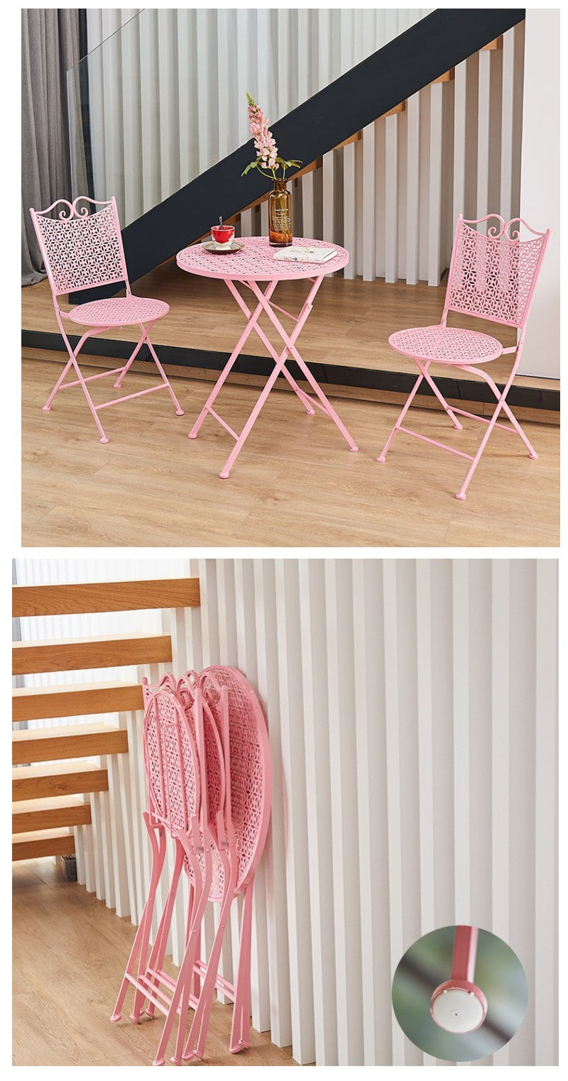 Garden Decoration Ideas, Pink Iron Foldable Chairs and Table for Garden, Balcony Table and Chairs