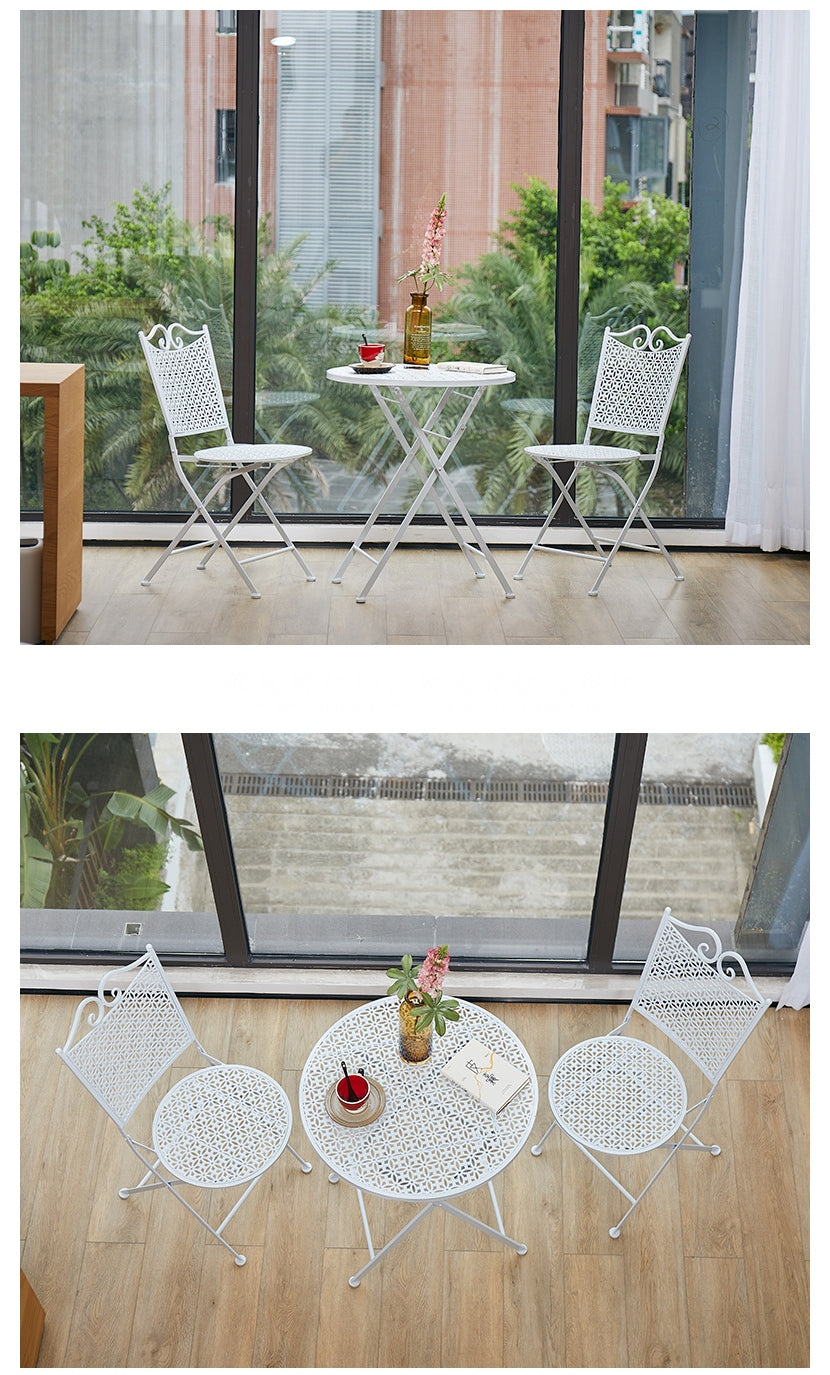 Garden Decoration Ideas, White Iron Foldable Chairs and Table for Garden, Balcony Table and Chairs