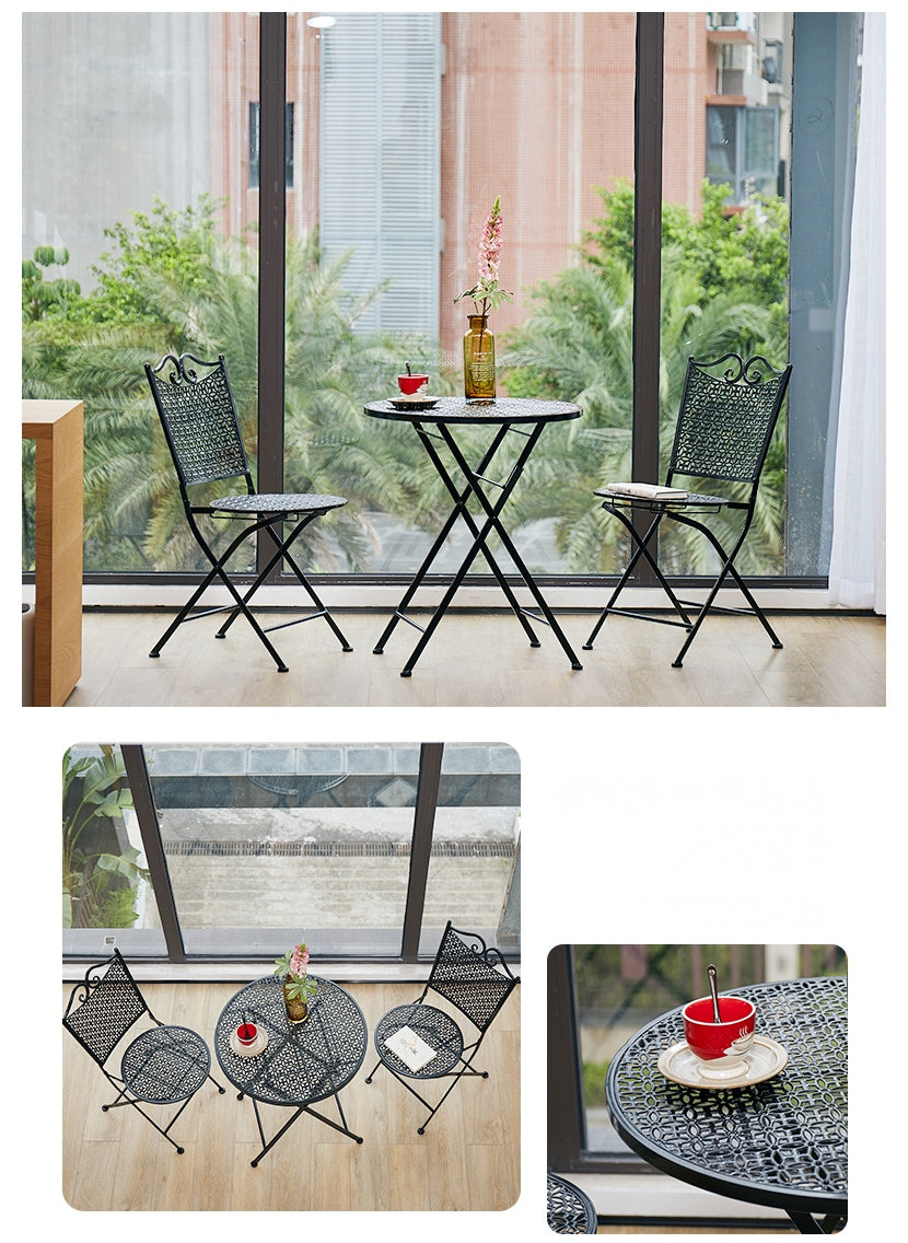 Garden Decoration Ideas, Black Iron Foldable Chairs and Table for Garden, Balcony Table and Chairs