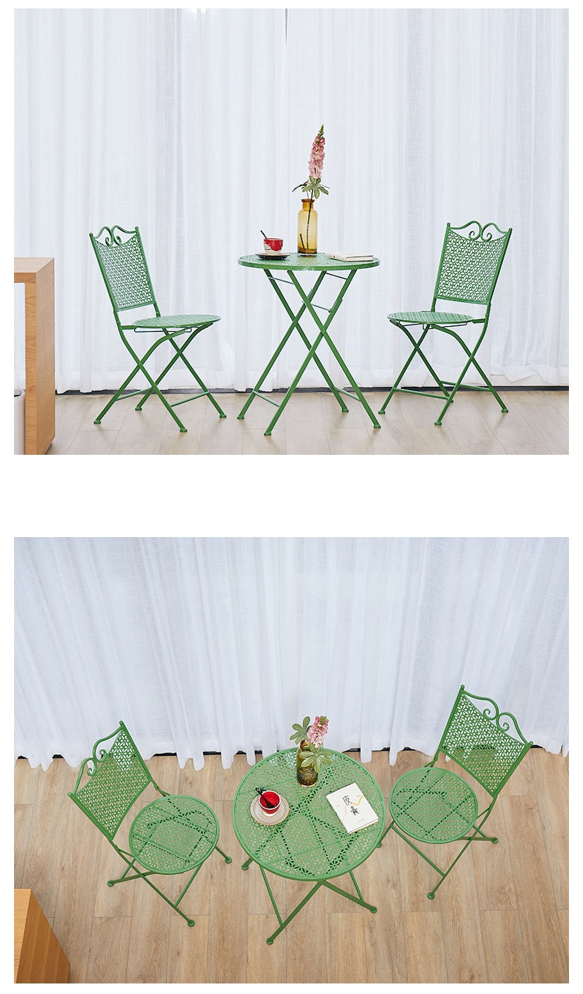 Garden Decoration Ideas, Green Iron Foldable Chairs and Table for Garden, Balcony Table and Chairs