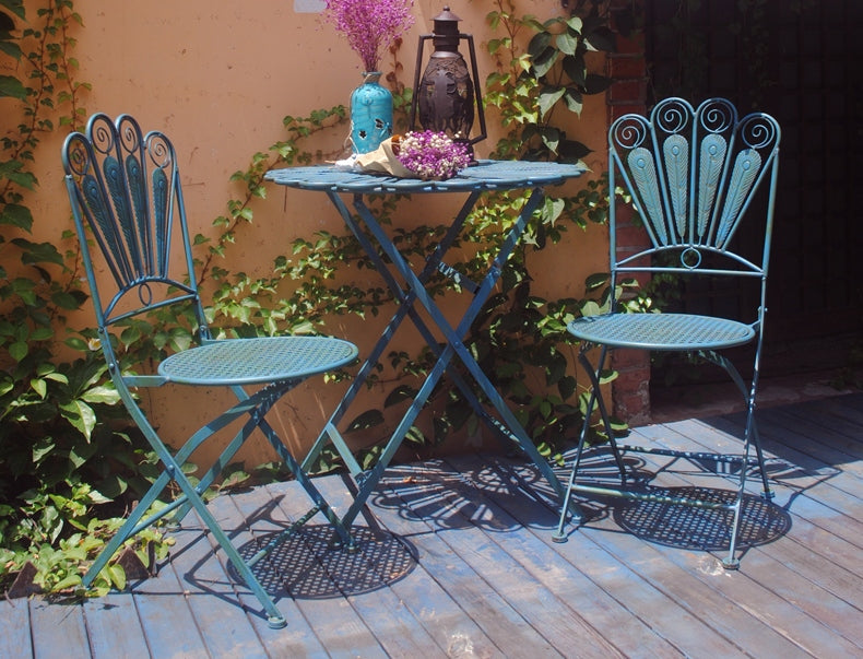 Garden Iron Foldable Chairs and Table, Villa Courtyard Table and Chairs, Garden Ideas