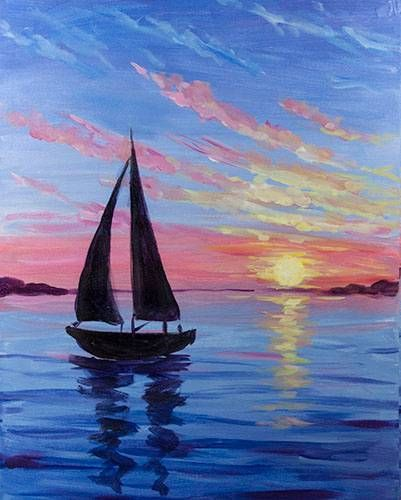 30 Easy Seascape Painting Ideas for Beginners, Easy Canvas Paintings, Boat Paintings, Easy Sunset Paintings, acrylic Paintings, Simple Landscape Painting Ideas