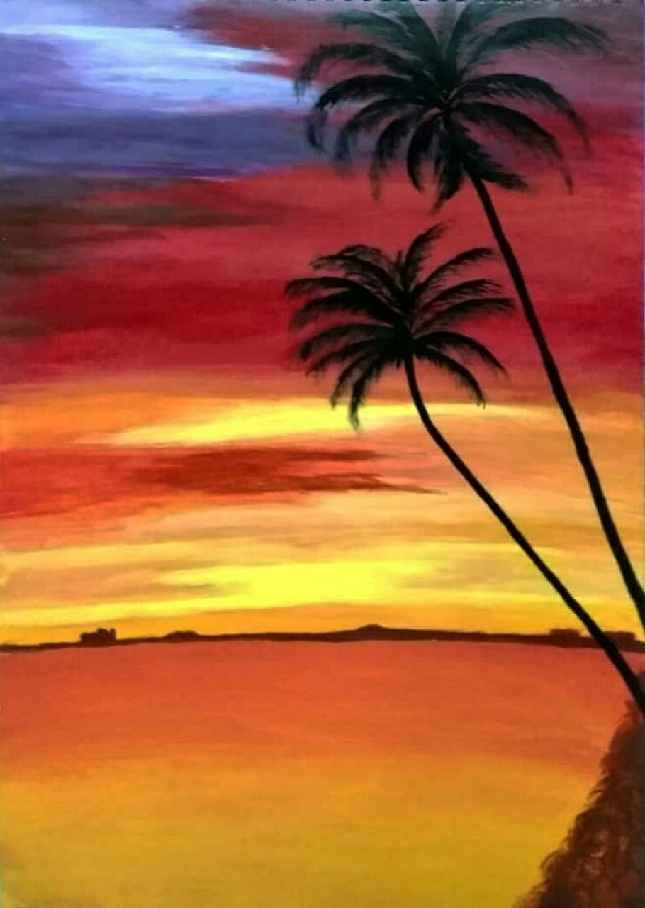 Beautiful Easy Acrylic Painting Ideas for Beginners, Seashore Painting, Sunset Painting, Easy Landscape Painting Ideas, Easy Painting Ideas for Kids, Simple Abstract Painting Ideas, Easy Canvas Painting Tips for Beginners