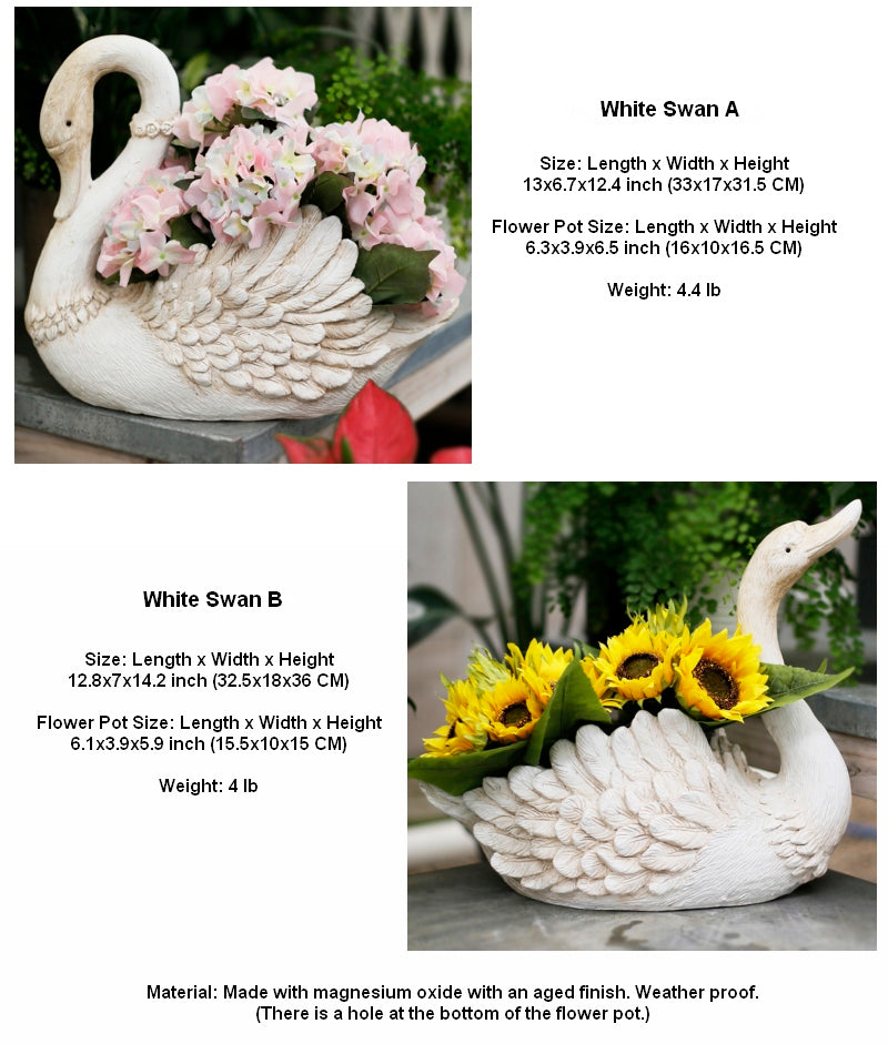 Large White Swan Flower Pot, Animal Statue for Garden Ornament, Swan Lovers Statues, Villa Courtyard Decor, Outdoor Decoration Ideas, Garden Ideas