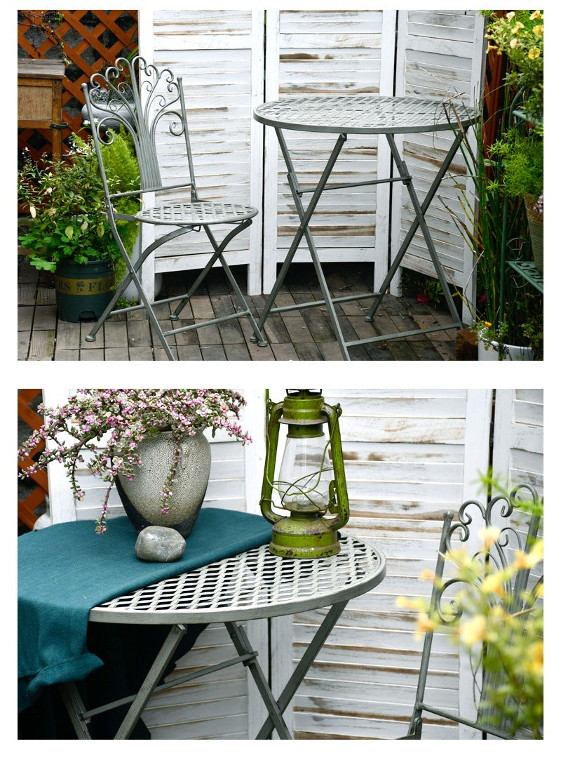 Iron Foldable Chairs and Table for Garden, Villa Courtyard Garden Table and Chairs, Garden Ideas