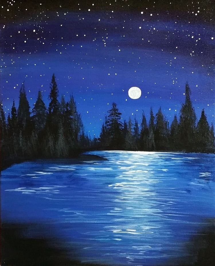 Night Sky Painting, Lake Painting, Easy Landscape Painting Ideas, Beautiful Easy Acrylic Painting Ideas for Beginners, Easy Painting Ideas for Kids, Simple Abstract Painting Ideas, Easy Canvas Painting Tips for Beginners
