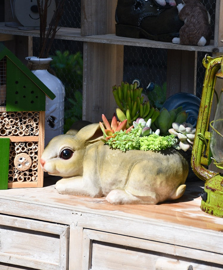 Small Rabbit Flower Pot, Rabit Resin Statue for Garden, Animal Statue for Garden Ornament, Gardening Ideas
