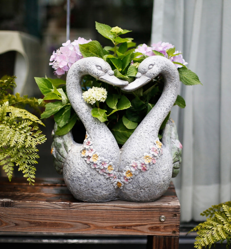 Swan Lovers Flower Pot, Extra Large Animal Statue for Garden Ornament, Swan Lovers Statues, Villa Courtyard Decor, Outdoor Decoration Ideas, Garden Ideas