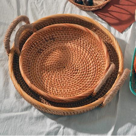 Rattan Storage Basket with Handle, Small Storage Baskets, Round Straoge Basket, Woven Storage Baskets for Kitchen