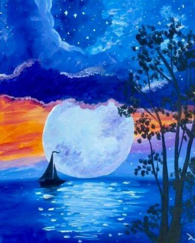 30 Easy Seascape Painting Ideas for Beginners, Easy Canvas Paintings, Boat Paintings, Easy Moon Paintings, acrylic Paintings, Simple Landscape Painting Ideas