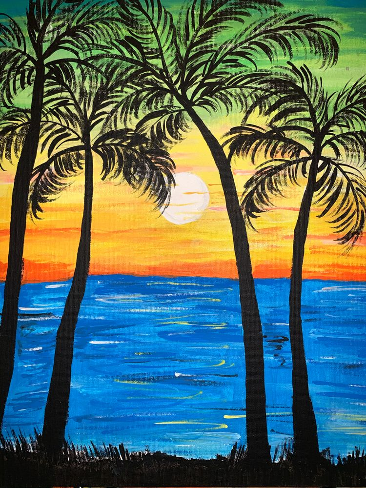 30 Easy Seascape Painting Ideas for Beginners, Easy Sunrise Paintings, Sea Paintings, Easy Sunset Paintings, Simple Acrylic Painting Ideas, Simple Landscape Painting Ideas
