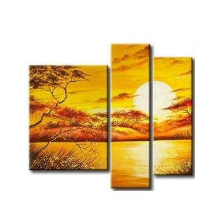 African Canvas Painting, Tree Sunset Painting , Yellow Canvas Painting, Acrylic Painting on Canvas, Painting for Sale