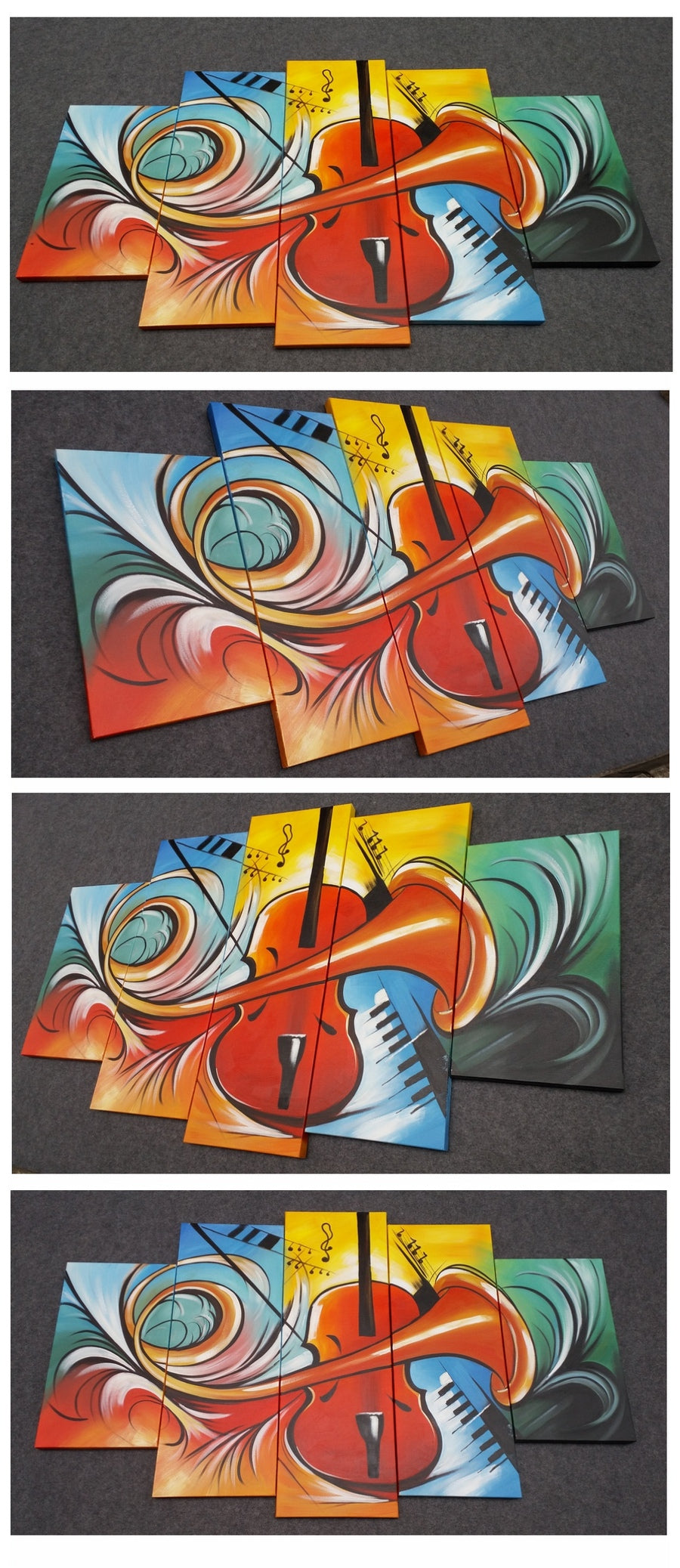 5 Piece Canvas Art, Violin Musical Instruction Painting