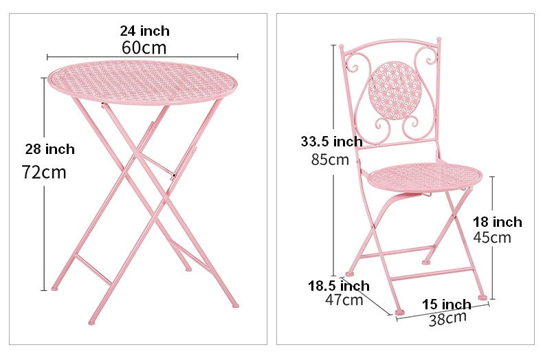 Pink Iron Foldable Chairs and Table for Garden, Villa Courtyard Garden Table and Chairs, Garden Ideas