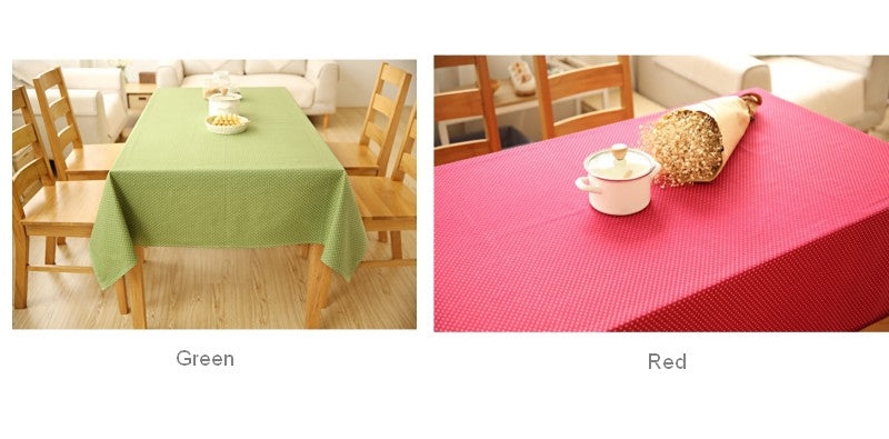 Small Dots Red Green Rectangle and Round Tablecloth