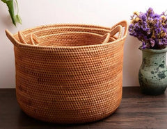 Large Hand Woven Fruit Basket with Handle, Large Woven Basket, Vietnam Round Basket