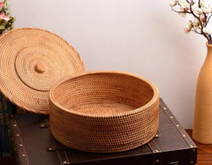 Hand Woven Storage Basket with Cover, Large Woven Basket, Vietnam Round Basket