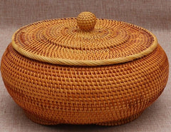 Handmade Storage Basket, Rustic Basket, Round Woven Basket with Cover, Home Decor