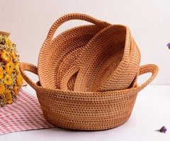 Handmade Round Basket, Woven Basket with Handle, Rustic Basket, Set of 3
