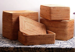 Hand Woven Rectangle Basket with Lip, Vietnam Traditional Handmade Rattan Wicker Storage Basket