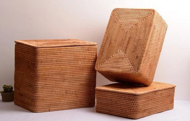 Bedroom Storage Ideas, Extra Large Handmade Rattan Storage Basket for Bedroom and Living Room, Hand Woven Rectangular Basket with Lip