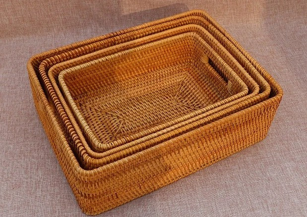Extra Large Rectangular Rattan Storage Basket for Shelves, Laundry Basket with Handle for Living Room and Bedroom