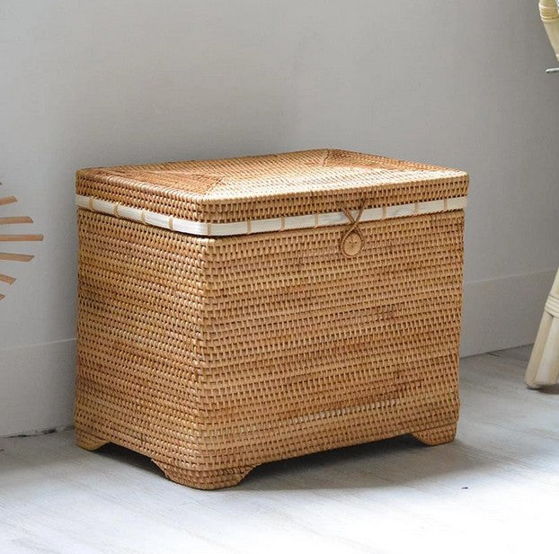 Extra Large Handmade Rectangular Basket with Cover, Rattan Storage Case, Storage Baskets for Bedroom, Rustic Basket with Lip