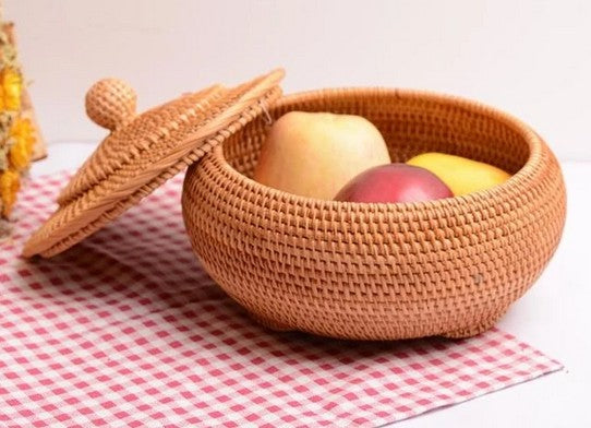 Cute Round Storage Basket, Lovely Hand Woven Storage Basket with Lids, Vietnam Rattan Basket for Kitchen and Dining Room