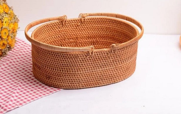Cute Handmade Fruit Basket with Handle, Lovely Rattan Storage Basket for Kitchen and Bathroom
