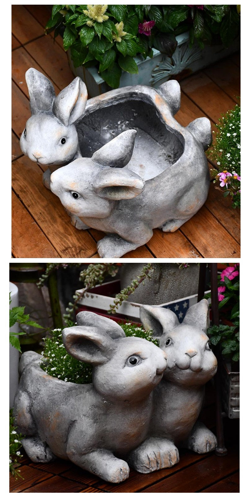Two Rabbits Statue, Rabbit Flower Pot, Animal Statue for Garden Ornament, Villa Outdoor Decoration, Garden Ideas