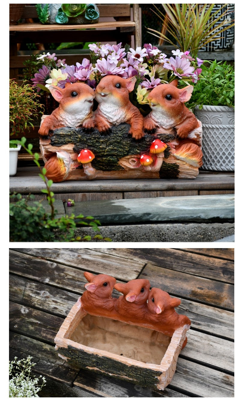 3 Lovel Squirrel Flower Pot, Squirrel Statue for Garden, Animal Statue for Garden Ornament, Villa Outdoor Decor Gardening Ideas