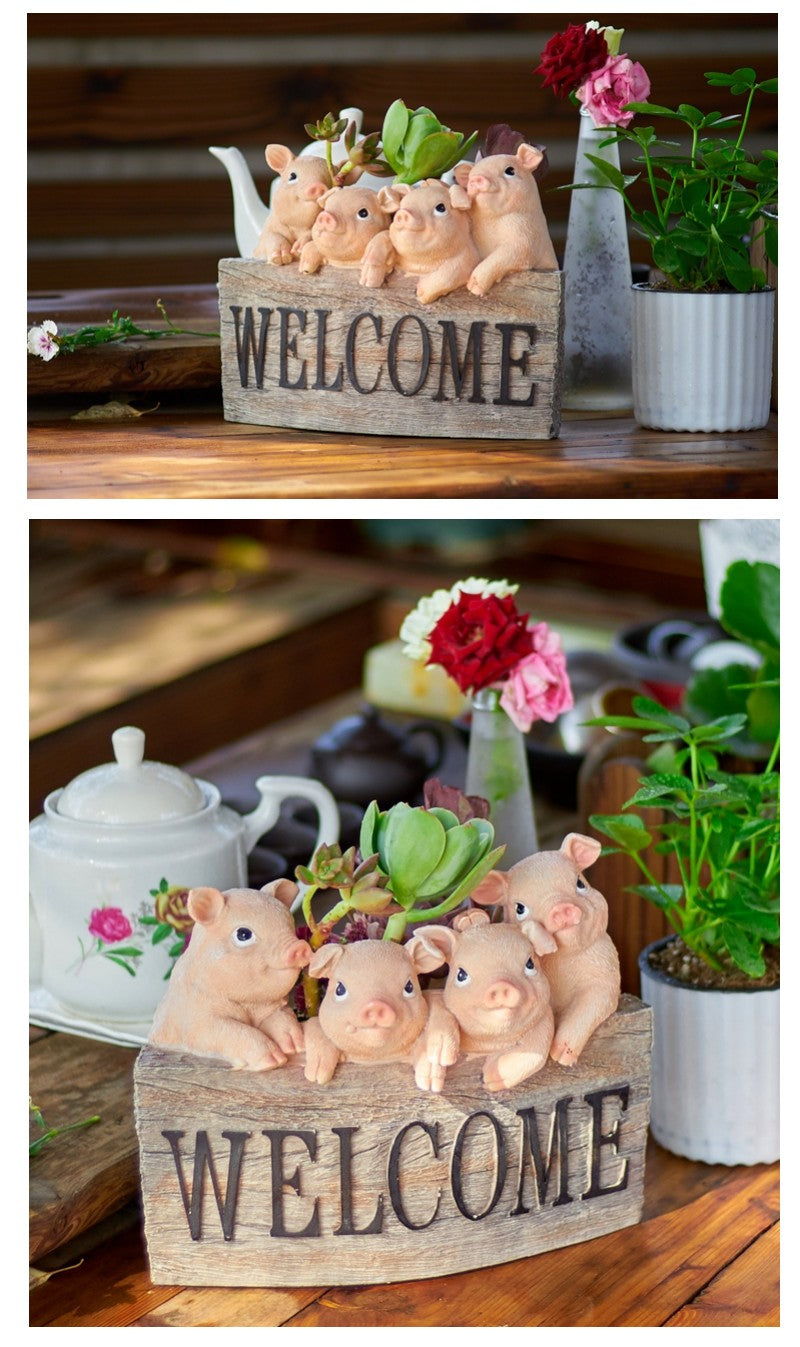 4 Lovely Pigs Flower Pot, Pig Statue with Welcome Sign for Garden, Animal Statue for Garden Ornament, Gardening Ideas