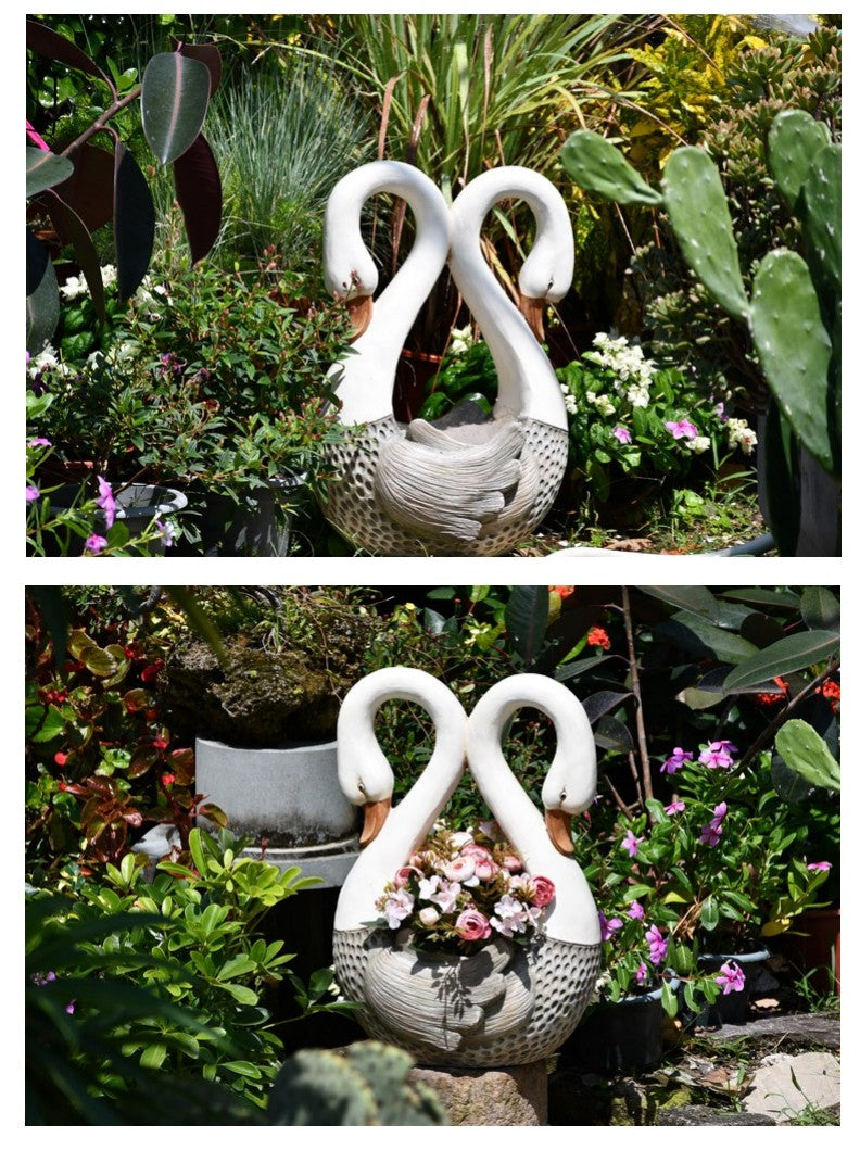 Large Heart Shape Swans for Garden, Swan Flowerpot, Animal Statue for Garden Courtyard Ornament, Villa Outdoor Decor Gardening Ideas