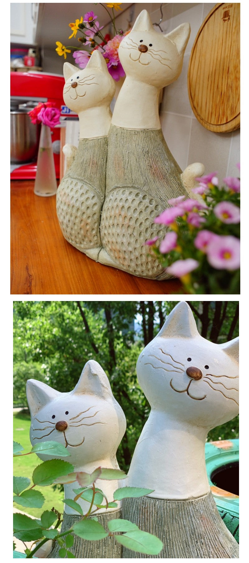 Large Lovely Cats Statue for Garden, Animal Statue for Garden Courtyard Ornament, Villa Outdoor Decor Gardening Ideas