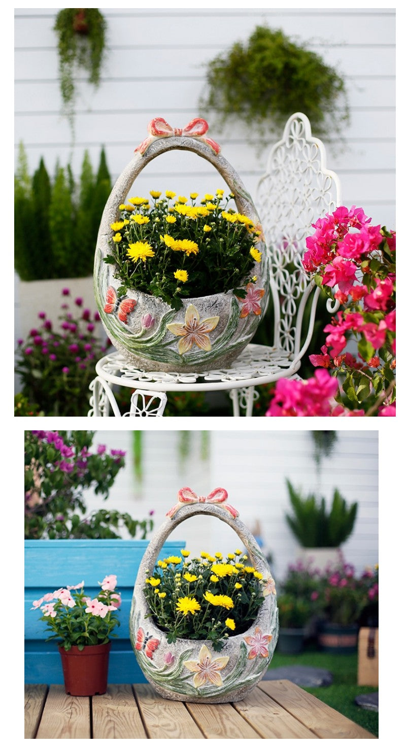 Extra Large Flower Basket Flower Pot, Garden Ornaments, Rustic Outdoor Decoration, Garden Ideas