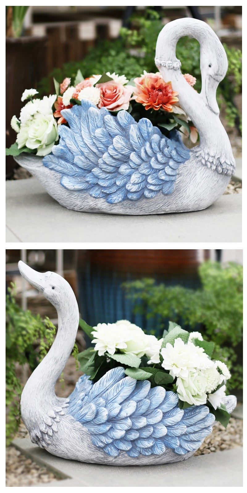 Blue Wing Swan Flower Pot, Small Animal Statue for Garden Ornament, Swan Lovers Statues, Villa Courtyard Decor, Outdoor Decoration Ideas, Garden Ideas