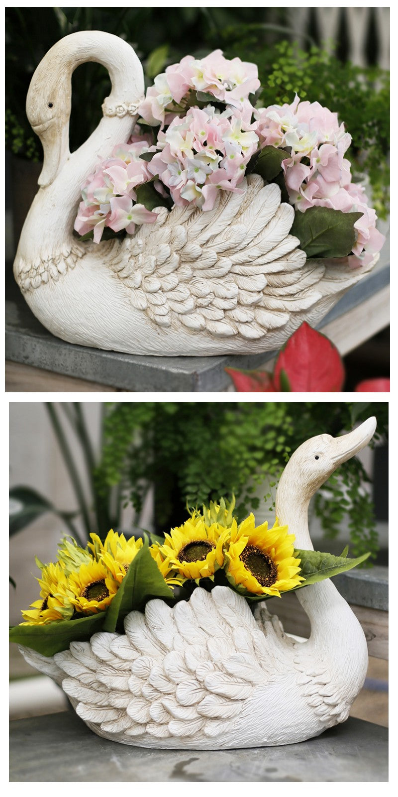 White Swan Flower Pot, Small Animal Statue for Garden Ornament, Swan Lovers Statues, Villa Courtyard Decor, Outdoor Decoration Ideas, Garden Ideas