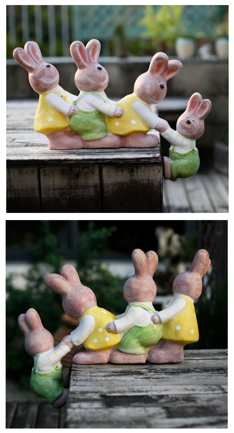 Cute Rabbits in the Garden, Animal Resin Statue for Garden Ornament, Lovely Rabbits Statues, Outdoor Decoration Ideas, Garden Ideas