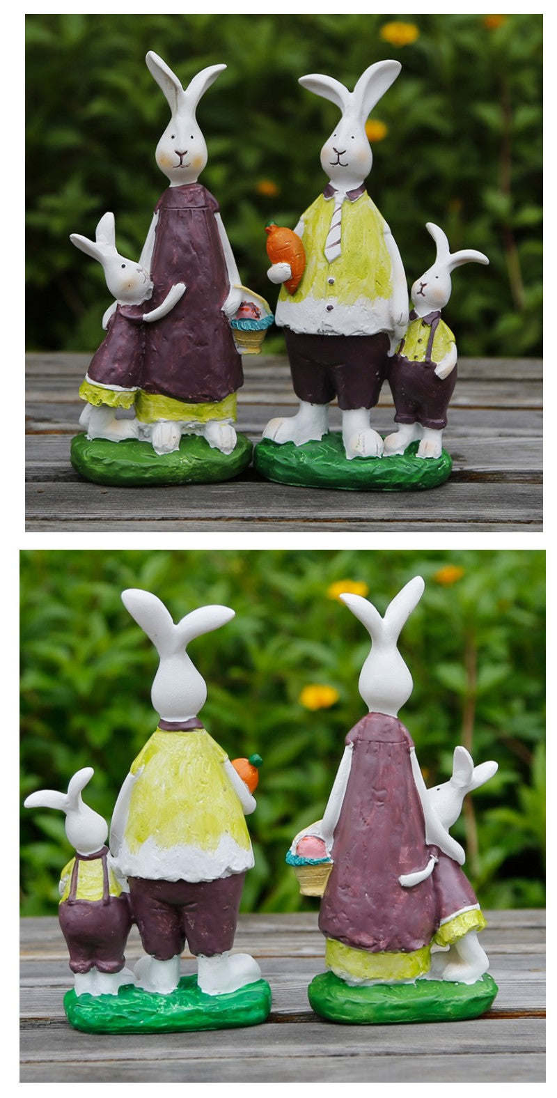 Happy Rabbit Family Statue, Lovely Rabbit Statues, Resin Statue for Garden Ornament, Villa Courtyard Decor, Outdoor Decoration, Garden Ideas