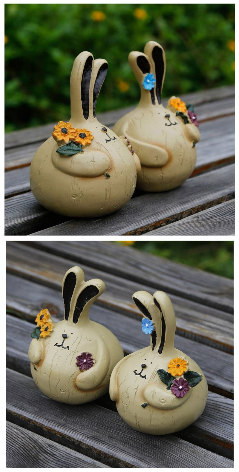 Two Lovely Rabbits with Flower Statue, Resin Statue for Garden, Animal Statue for Garden Ornament, Villa Outdoor Decor Gardening Ideas