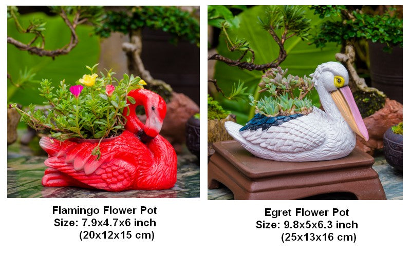 Small Flamingo Flower Pot in the Garden, Egret Bird Resin Flower Pot for Garden Ornament, Outdoor Decoration Ideas, Garden Ideas