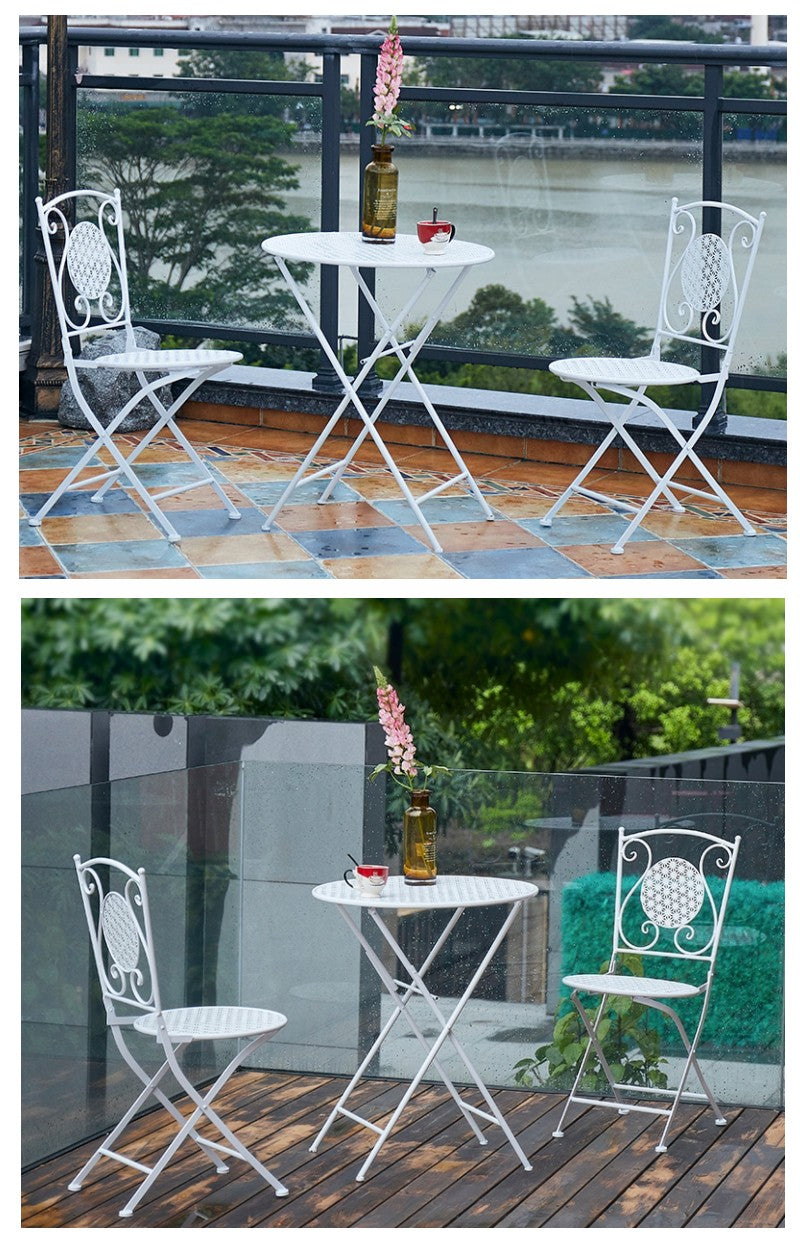 White Iron Foldable Chairs and Table for Garden, Villa Courtyard Garden Table and Chairs, Garden Ideas