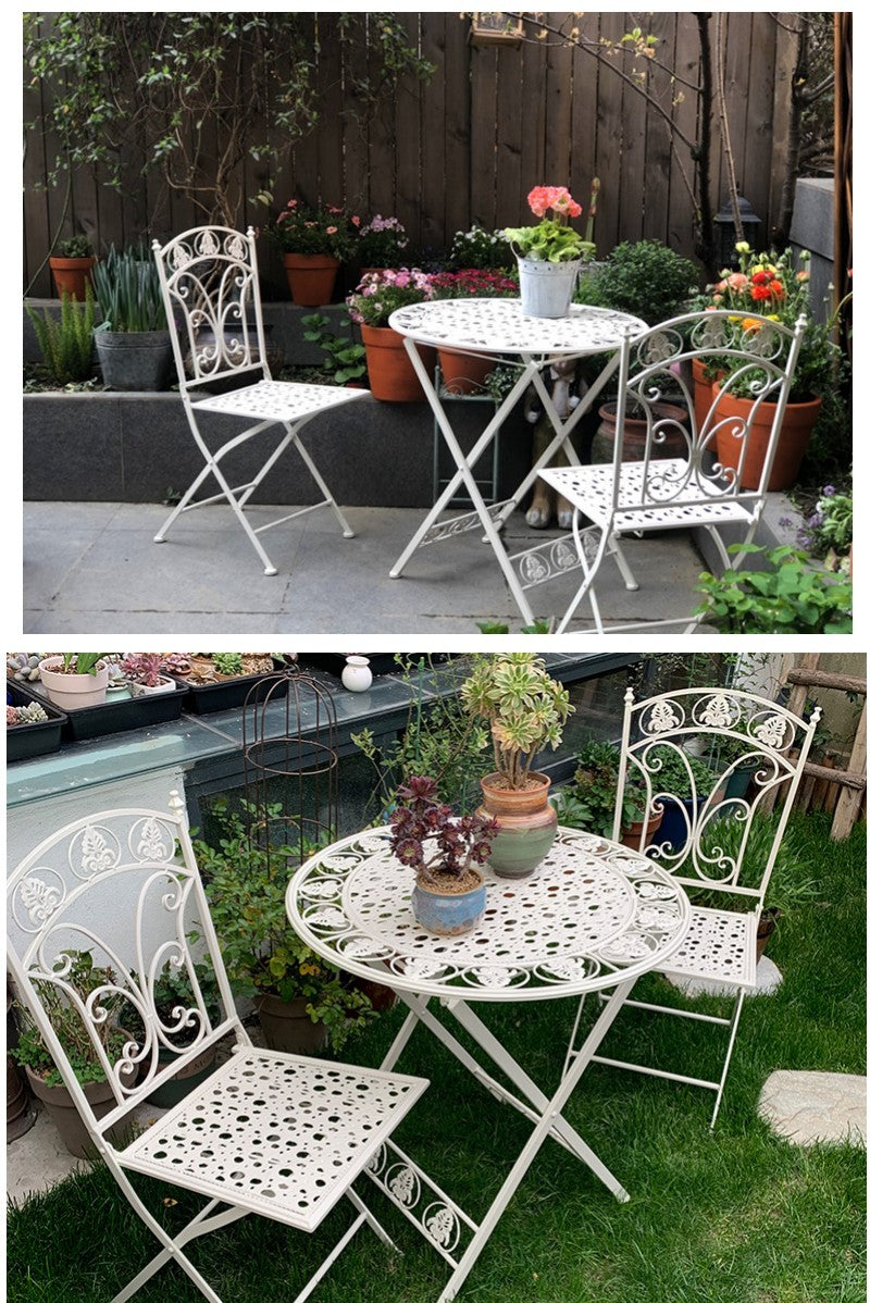 White Iron Foldable Garden Chairs and Table, Villa Courtyard Garden Table and Chairs, Garden Decoration Ideas