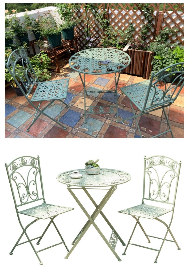 Green Iron Foldable Garden Chairs and Table, Villa Courtyard Garden Table and Chairs, Garden Decoration Ideas