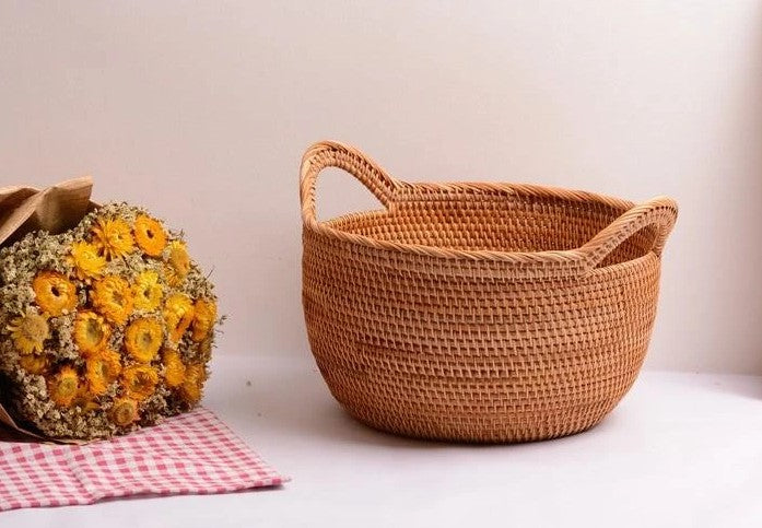 Large storage baskets, storage basket for kitchen, storage basket for fruits, round storage baskets