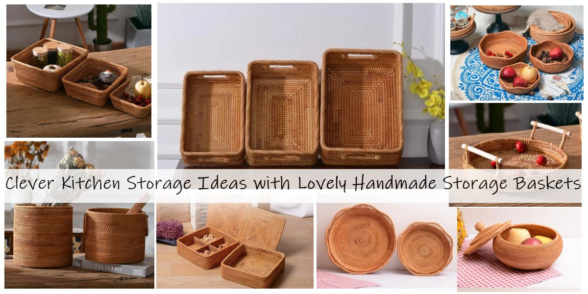 clever storage ideas for kitchen, storage baskets for shelves, small storage baskets